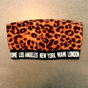 Leopard print bandeau bra top.